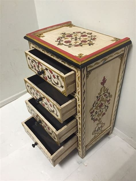 Moroccan Table L by Moroccan Handpainted Nightstand Wood 4 Drawers Table