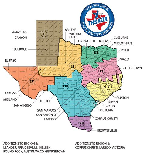 texas school region map texas high school athletic directors association regional map