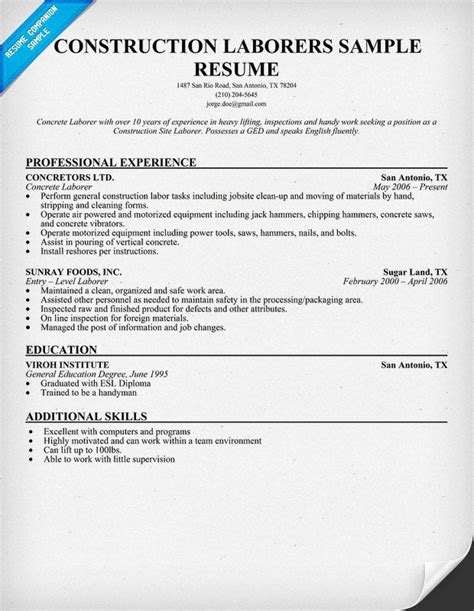 resume for laborer in construction http topresume info