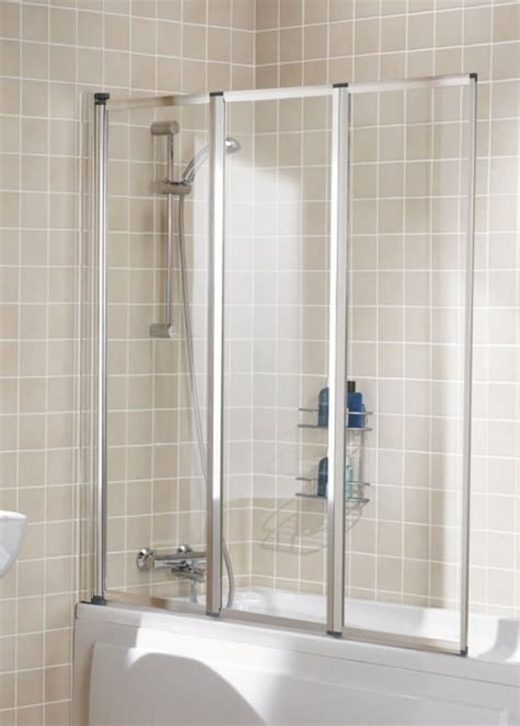 Lakes Classic Silver 1390mm Framed 3 Panel Bath Screen Bathroom Shower Screens