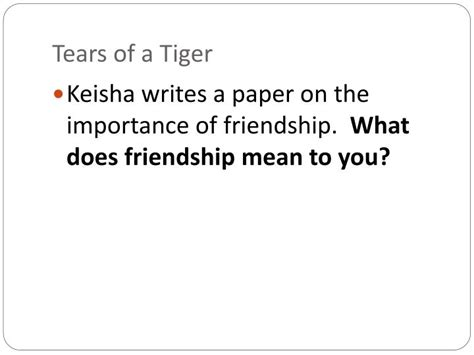 Tears Of A Tiger Essay by Ppt Tears Of A Tiger Journal Prompts Powerpoint Presentation Id 6878568