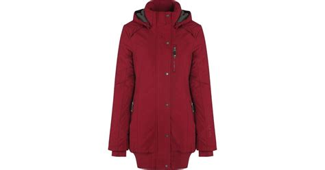 bench parka womens bench razzer ii hooded parka jacket in red lyst