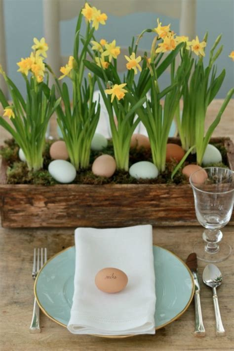 Spring Centerpieces with Blue Eggs & Daffodils   Williams