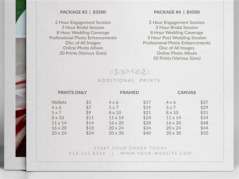 Wedding Photographer Pricing Guide Price Sheet List 5x7 Cursive Q Free Wedding Pricing Template