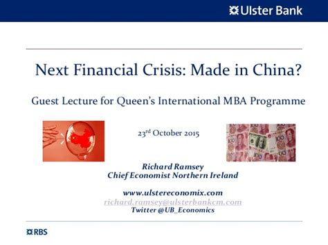 Tu Mba Programme by Next Financial Crisis Made In China