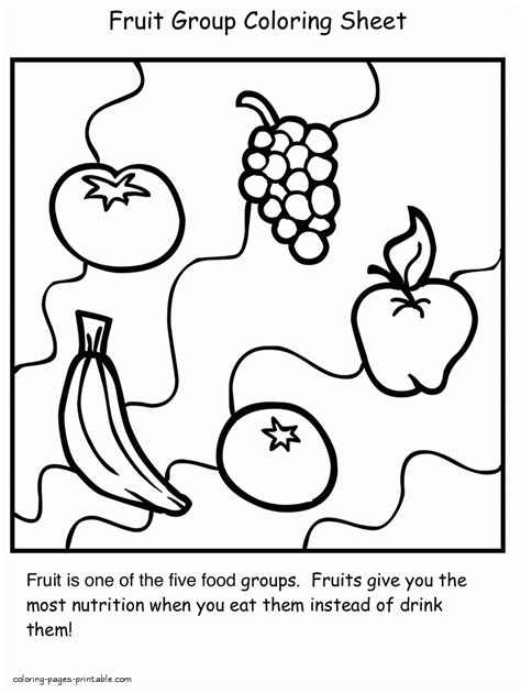 healthy food coloring pages for preschool fruit group