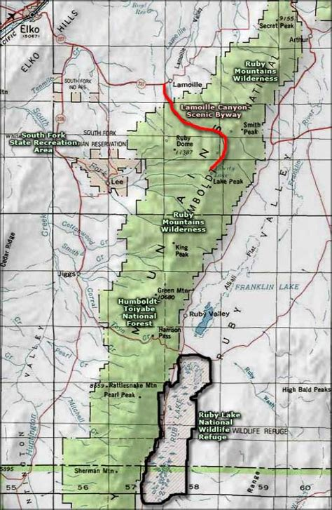 ruby map ruby mountains wilderness nevada national wilderness areas