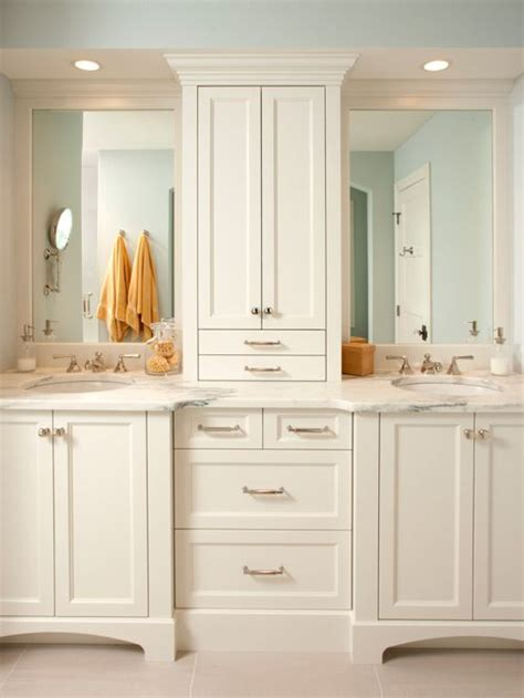 cabinet between bathroom sinks cabinet between sink home design ideas pictures remodel
