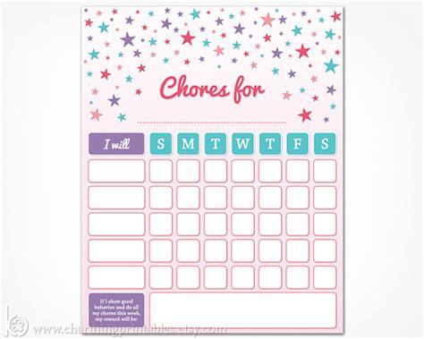 printable a3 reward charts chore chart printable instant download girls weekly chore