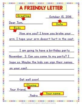 writing thoughtful friendly letter grades