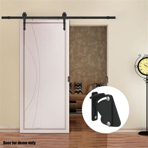 Voilamart Sliding Barn Door Hardware Set 2m Closet Black Locking Barn Door Hardware