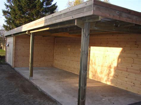 garage bois toit plat carport toit simple abris de voiture en bois