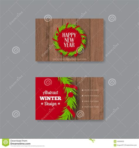 chrismas business card template business card template with wreath stock vector