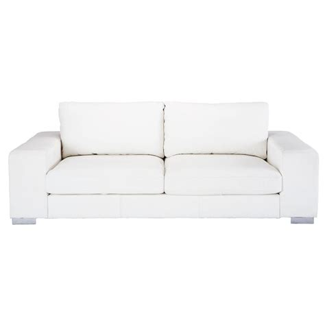 Canape Blanc by Canap 233 3 4 Places En Cuir Blanc New York Maisons Du Monde