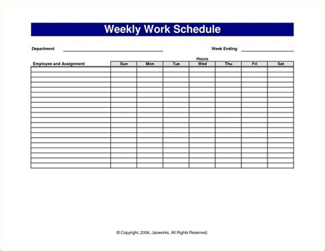 20 daily work schedule template excel 7 hourly