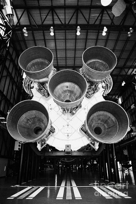 rear view of engines of the saturn five rocket in the