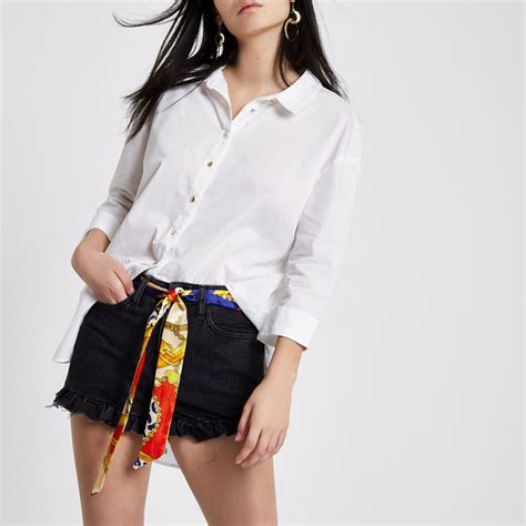 Sale Denim Scarf black scarf belt frill hem denim shorts shorts sale