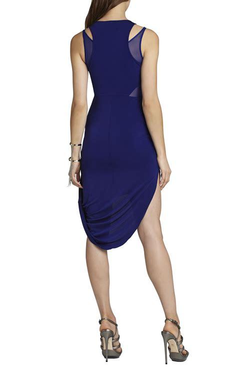 bcbgmaxazria liza asymmetrical draped skirt dress in blue