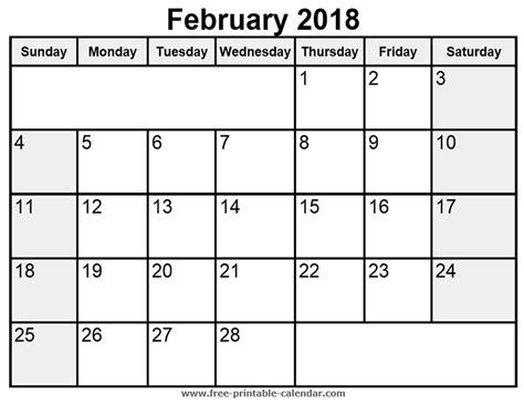 2018 February Calendar February 2018 Calendar Printable Templates Pdf Word