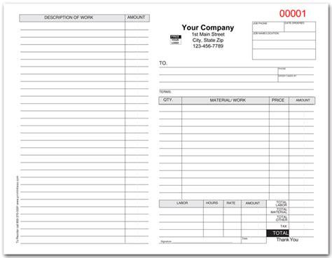 standard work order invoice form