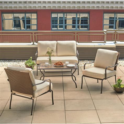 hton bay pin oak 4 wicker patio conversation set