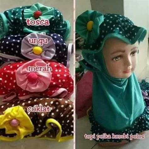 Jilbab Anak Combi Polka Topi jilbab anak topi polka jilbab instan