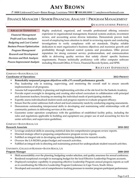 financial analyst cv template resume financial analyst resume sle financial