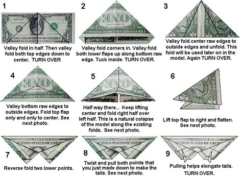 Origami Dollar Bill Butterfly - origami insect diagrams