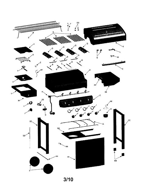 gas grill parts diagram gas grill diagram parts list for model 463440109 char