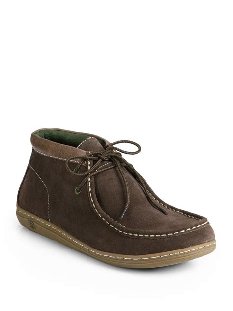 penguin chukka boots original penguin wally suede chukka boots in brown for