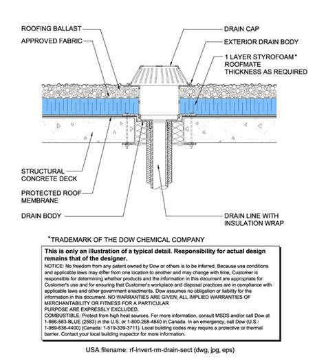 drainage section drawing styrofoam brand roofmate insulation