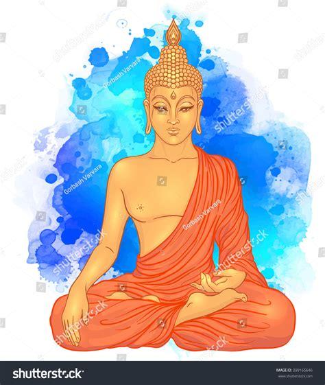 buddha watercolor illustration tutorial adobe sitting buddha over watercolor background vector