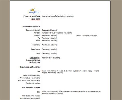 Formato Europeo Curriculum Vitae Da Compilare Curriculum Vitae Europass Scarica Il Cv