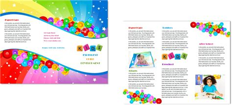 preschool brochure template child care brochure template 7 child care owner