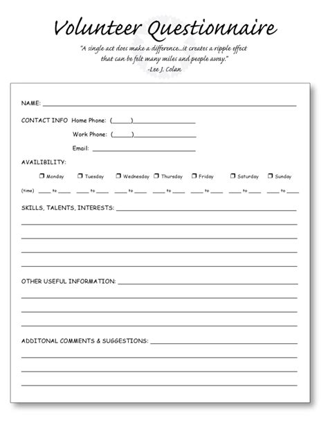 volunteer questionnaire template education world tools templates including the