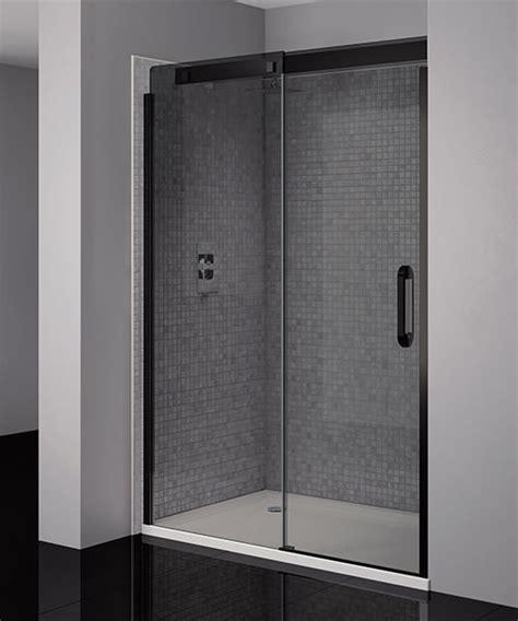 April Prestige Frameless 1200mm Smoked Black Sliding Black Shower Door