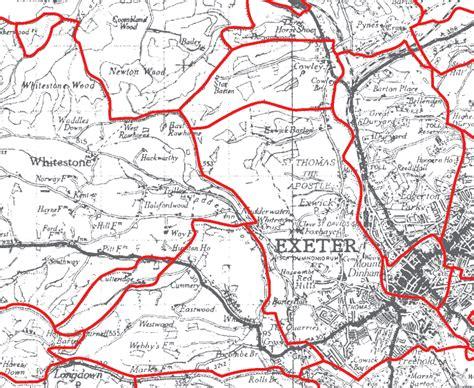 map uk exeter genuki exeter st parish boundaries