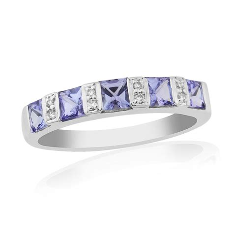 9 carat white gold tanzanite and eternity ring gtr425w