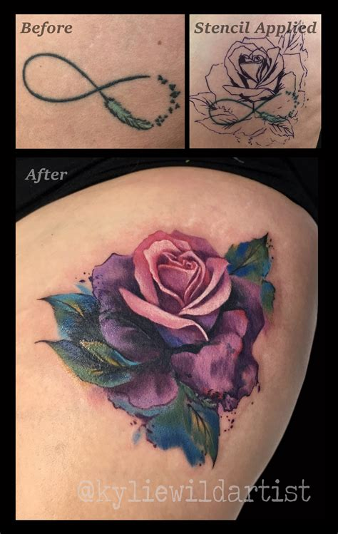 rose tattoo australia infinity symbol cover up with beautiful watercolour