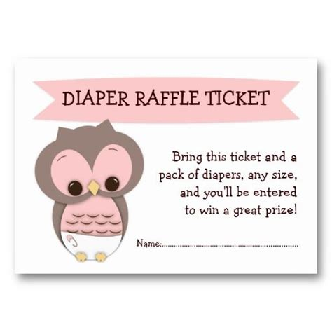 pink owl baby shower diaper raffle ticket insert diaper