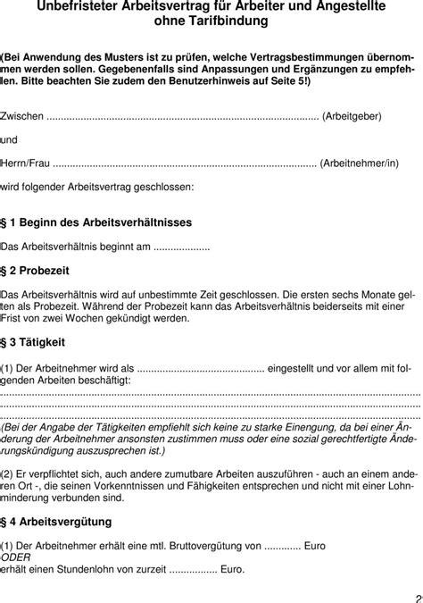 Musterbrief Kündigung Probezeit Arbeitnehmer Muster Unbefristeter Arbeitsvertrag F 252 R Arbeiter Und Angestellte Ohne Tarifbindung Pdf