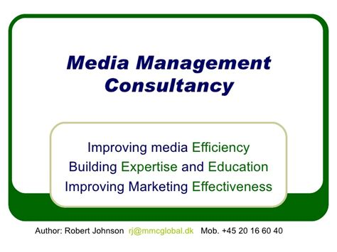 Learning And Performance Consultant At Sheryl Waxler Ph D Mba by Media Management Consultancy Intro1