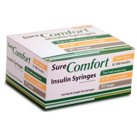Sure Comfort Syringes by Surecomfort Insulin Syringe 31 1cc 5 16 Quot Needle