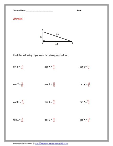 Trigonometry Ratios Worksheet by Cos Worksheet Worksheets For School Getadating