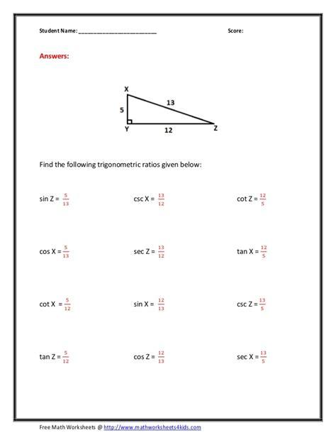 Trigonometric Ratios Worksheet by Trig Ratio Worksheet Wiildcreative