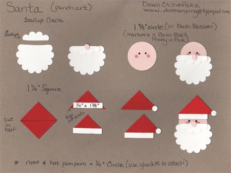 Paper Punch Craft Ideas - santa one of many ways to make him