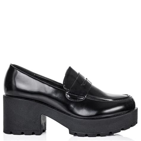 chunky loafer shoes buy laidback heeled chunky cleated sole loafer shoes black
