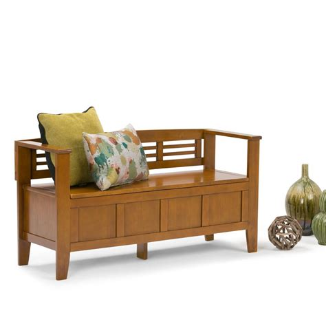 adams bench simpli home adams light avalon brown storage bench 3axcadaben alb the home depot