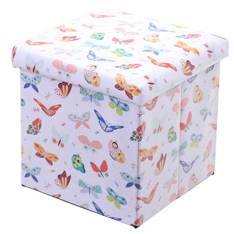 Foldable Storage Box Stool foldable padded stool storage box butterfly design