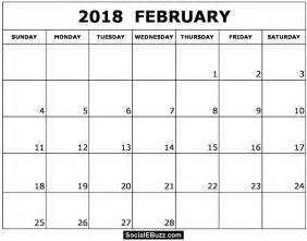 2018 Calendar February February 2018 Calendar Printable Template Pdf With
